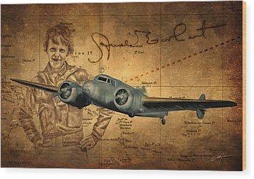 Amelia Earhart Wood Print by Dale Jackson