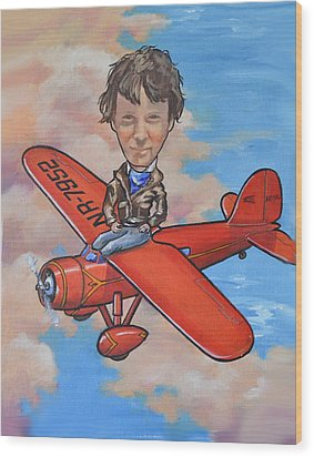 Wood Print featuring the painting Amelia Earhart by Murray McLeod