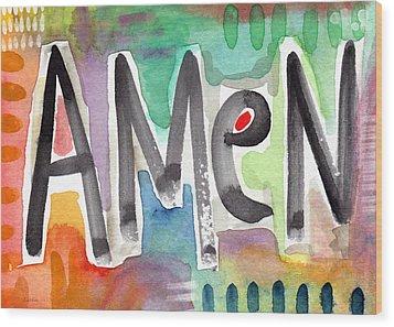 Amen Greeting Card Wood Print by Linda Woods