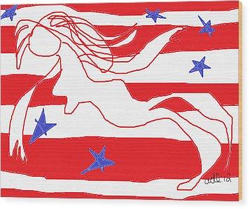 America Free Falling  Wood Print by Anita Dale Livaditis