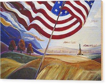 America Wood Print by Jen Norton