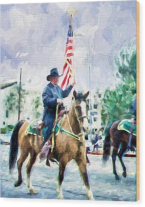 Wood Print featuring the painting America On Parade by Ike Krieger