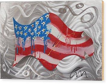 America Wave - Edition 3 Wood Print by Mac Worthington