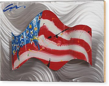 America Wave Wood Print by Mac Worthington