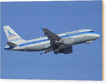 American Airbus A319-112 N744p Piedmont Pacemaker Phoenix Sky Harbor December 22 2014 Wood Print by Brian Lockett