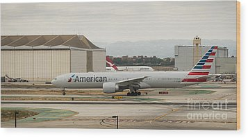 American Airliner On Runway At Lax In May 2014 Wood Print