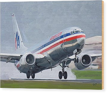 American Airlines Taking Off Wood Print by Nop Briex