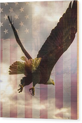 American Bald Eagle In Flight Wtih Flag Wood Print by Natasha Bishop