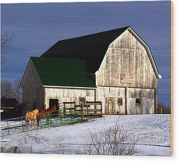 American Barn Wood Print by Desiree Paquette
