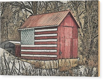American Barn Wood Print by Trish Tritz