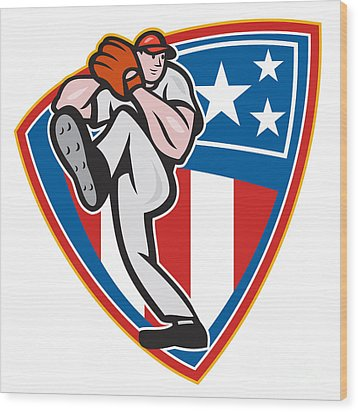 American Baseball Pitcher Shield Wood Print by Aloysius Patrimonio
