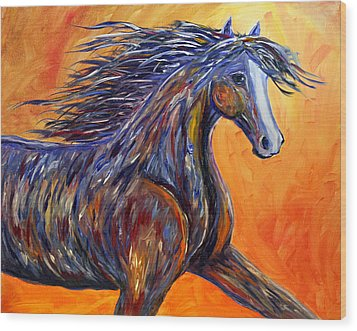 Wood Print featuring the painting American Beauty Abstract Horse Painting by Jennifer Godshalk