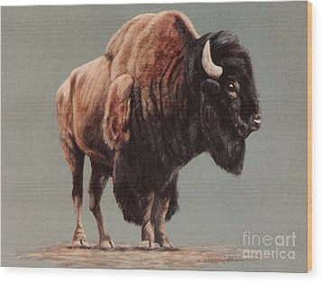 Wood Print featuring the painting American Bison by DiDi Higginbotham