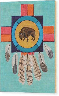 American Bison Dreamcatcher Wood Print