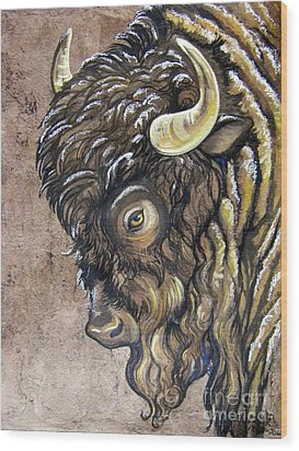 American Bison In A Light Snow Fall. Wood Print by Anne Shoemaker-Magdaleno