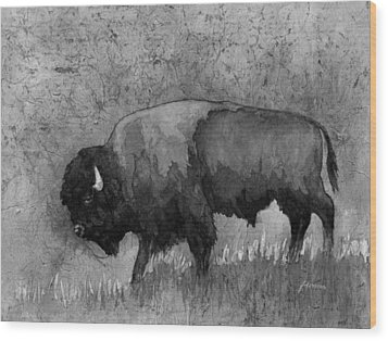 Monochrome American Buffalo 3  Wood Print by Hailey E Herrera