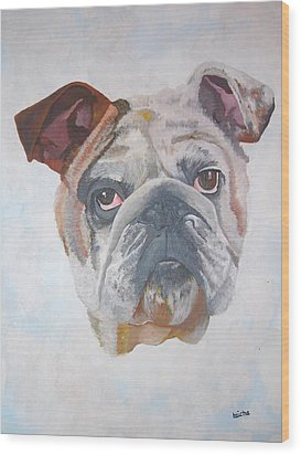 Wood Print featuring the painting American Bulldog Pet Portrait by Tracey Harrington-Simpson