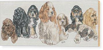 American Cocker Spaniel Puppies Wood Print by Barbara Keith