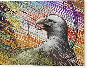 American Eagle Wood Print by Peter Awax