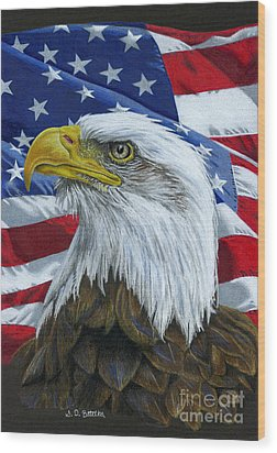 American Eagle Wood Print by Sarah Batalka
