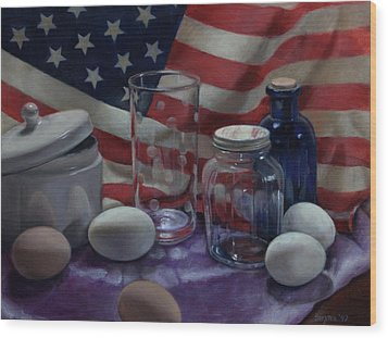 American Eggs Wood Print