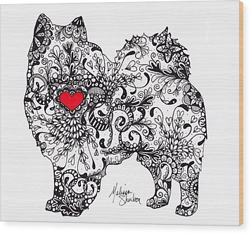 Wood Print featuring the drawing American Eskimo by Melissa Sherbon