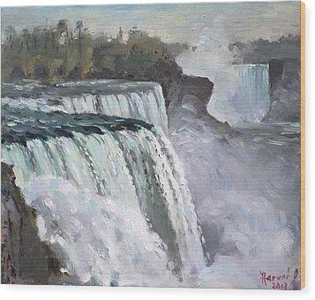 American Falls Niagara Wood Print by Ylli Haruni