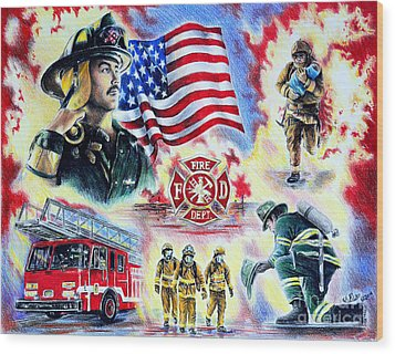 American Firefighters Wood Print by Andrew Read