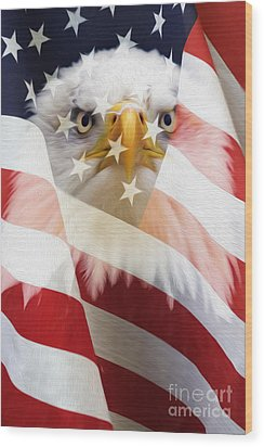 American Flag And Bald Eagle Montage Wood Print by Tim Gainey