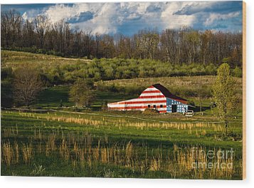 American Flag Barn Wood Print by Amy Cicconi
