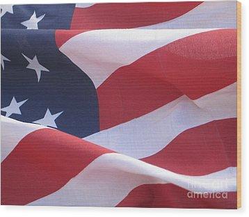 American Flag   Wood Print by Chrisann Ellis