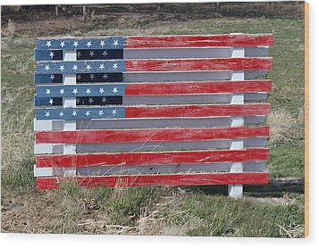 Wood Print featuring the photograph American Flag Country Style by Sylvia Thornton