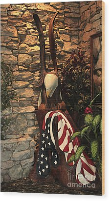 Wood Print featuring the photograph American Flag And Eagle Wood Carving by Marjorie Imbeau
