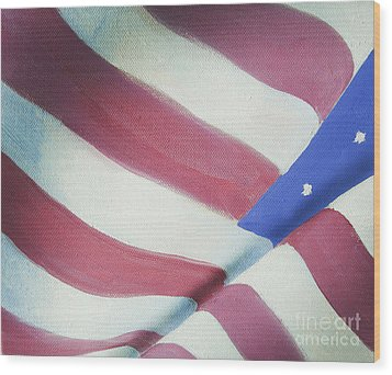 American Flag Grungy Vintage Oil Painting Wood Print by Christina Rahm