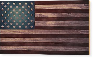American Flag I Wood Print by April Moen