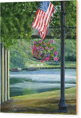 Wood Print featuring the painting American Flag In Natchitoches Louisiana by Lenora  De Lude
