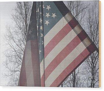 American Flag Wood Print by Jennifer Kimberly