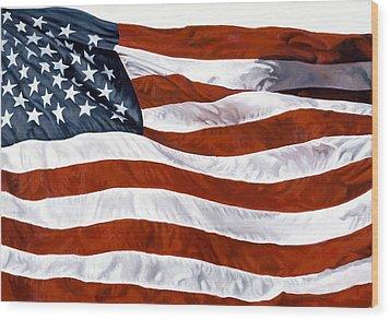 American Flag Wood Print by John Zaccheo
