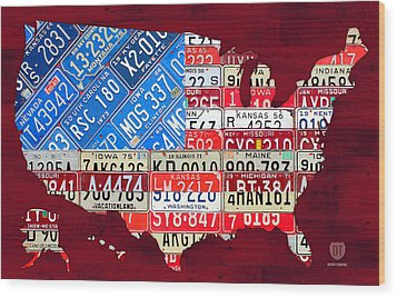 American Flag Map Of The United States In Vintage License Plates Wood Print by Design Turnpike