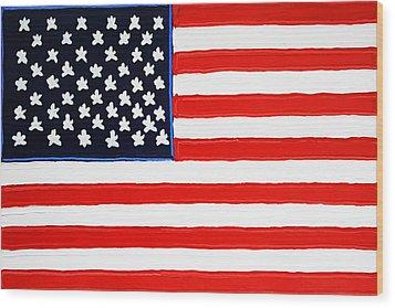 American Flag Wood Print by Matthew Brzostoski