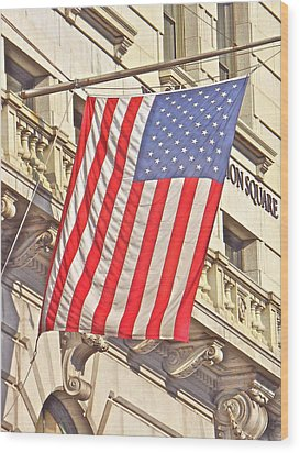 Wood Print featuring the photograph American Flag N.y.c 1 by Joan Reese