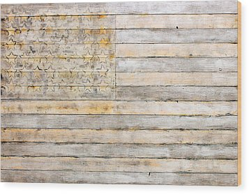 American Flag On Distressed Wood Beams White Yellow Gray And Brown Flag Wood Print by Design Turnpike