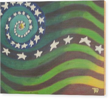 Wood Print featuring the painting American Flag Reprise by Thomasina Durkay