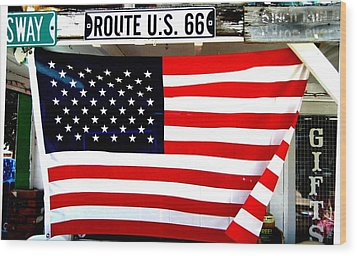 American Flag Route 66 Wood Print