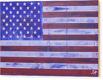 American Flag Wood Print by Sean Keil