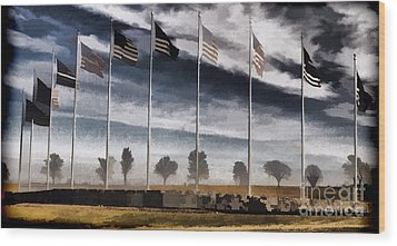 American Flag Still Standing Wood Print by Luther   Fine Art