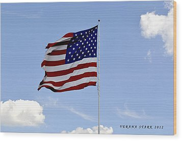 Wood Print featuring the photograph American Flag by Verana Stark