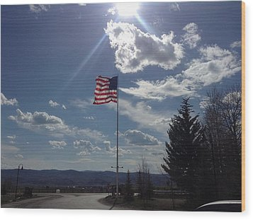 American Flag Waving In The Sunrays Wood Print by Shawn Hughes