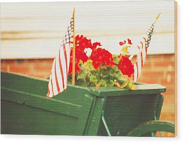 American Flags And Geraniums In A Wheelbarrow Two Wood Print by Marian Cates