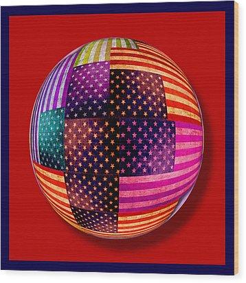 American Flags Orb Wood Print by Tony Rubino